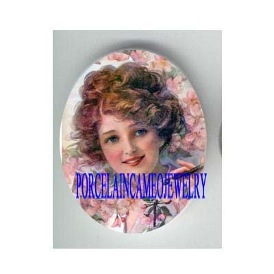 VICTORIAN LADY WITH CHERRY BLOSSOMS* UNSET CAMEO PORCELAIN CABOCHON