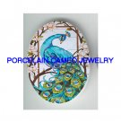 BLUE PEACOCK BIRD WITH DOGWOOD * UNSET CAMEO PORCELAIN CABOCHON