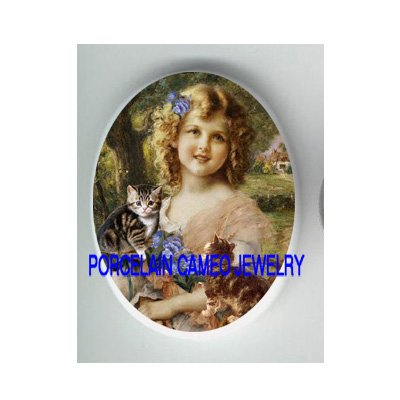 VICTORIAN GIRL 2 KITTY CAT FORGET ME NOT * UNSET CAMEO PORCELAIN CABOCHON