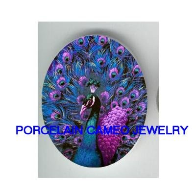 PURPLE PEACOCK BIRD UNSET PORCELAIN CAMEO CAB 18x25MM