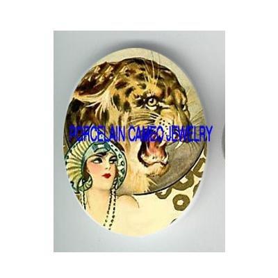 ART DECO LADY LEOPARD WILD CAT* UNSET CAMEO PORCELAIN CABOCHON