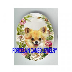 LONG HAIR CHIHUAHUA DOG ROSE UNSET CAMEO PORCELAIN CAB