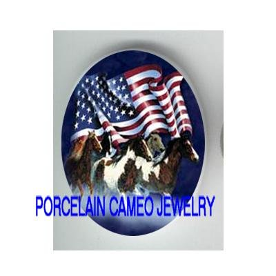 RUNNING STALLION HORSE AMERICAN FLAG* UNSET CAMEO PORCELAIN CABOCHON