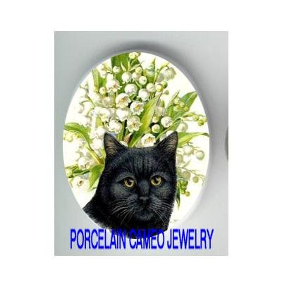 BLACK CAT WITH LILY OF THE VALLEY* UNSET CAMEO PORCELAIN CABOCHON