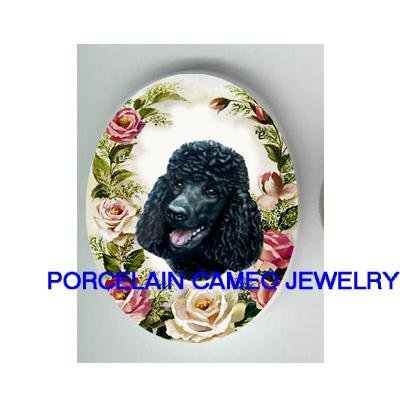 BLACK POODLE WITH PINK ROSE * UNSET CAMEO PORCELAIN CABOCHON