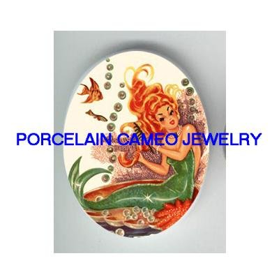 VICTORIAN MERMAID WITH BUBBLE PEARL FISH * UNSET CAMEO PORCELAIN CABOCHON