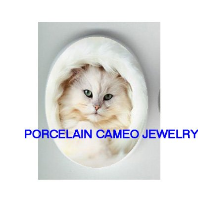 GREEN EYES WHITE PERSIAN KITTY CAT * UNSET CAMEO PORCELAIN CABOCHON