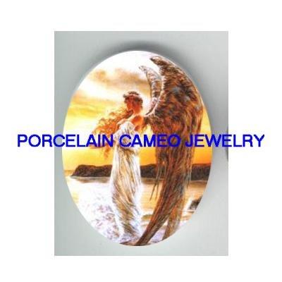 GOLDEN OCEAN ANGEL * UNSET CAMEO PORCELAIN CABOCHON