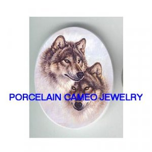 2 CUDDLING GREY WOLF UNSET CAMEO PORCELAIN CABOCHON