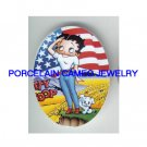 BETTY BOOP AMERICAN FLAG W/ DOG  * UNSET CAMEO PORCELAIN CABOCHON