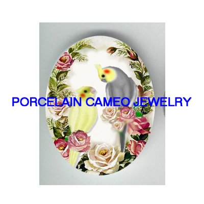 2 COCKATOO BIRD VICTORIAN ROSE  * UNSET CAMEO PORCELAIN CABOCHON