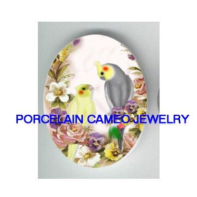 COCKATOO BIRD VICTORIAN ROSE PANSY CAMEO PORCELAIN 18X25