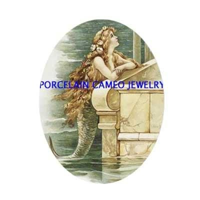 VICTORIAN MERMAID BY THE SEA PORCELAIN CAMEO CAB 18X25