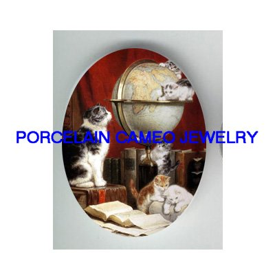 VICTORIAN KITTY CAT FAMILY READ BOOK GLOBAL  * UNSET CAMEO PORCELAIN CABOCHON