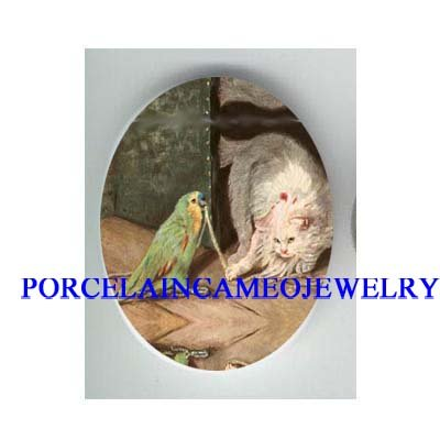 VICTORIAN PARROT PLAYING WHITE CAT CAMEO PORCELAIN CAB