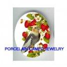 COCKATOO BIRD EATS STRAWBERRY* UNSET CAMEO PORCELAIN CABOCHON