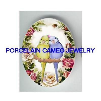 BABY PARAKEET BUDGIE VICTORIN ROSE PORCELAIN CAMEO 3040