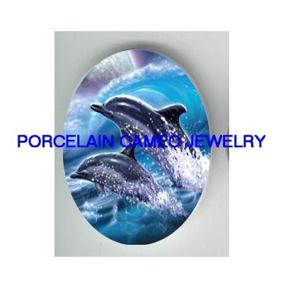 JUMPING DOLPHIN WAVE* UNSET CAMEO PORCELAIN CABOCHON