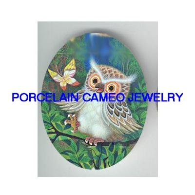 BABY OWL WITH HUMMINGBIRD * UNSET CAMEO PORCELAIN CABOCHON