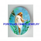 VICTORIAN CALLA LILY FAIRY * UNSET CAMEO PORCELAIN CABOCHON