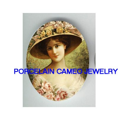 VICTORIAN ROSE LADY WITH ROSE HAT * UNSET CAMEO PORCELAIN CABOCHON
