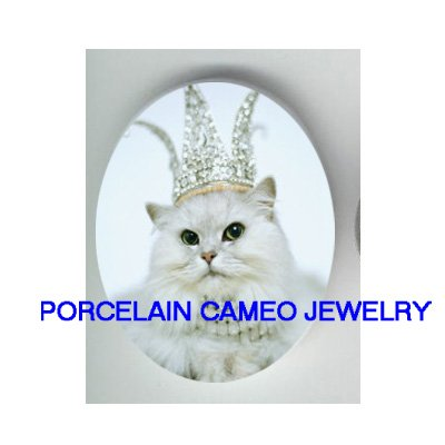 JEWELED GREEN EYES WHITE PERSIAN CAT CAMEO PORCELAIN