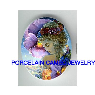 PANSY FLOWER ANGEL FAIRY * UNSET CAMEO PORCELAIN CABOCHON