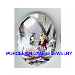 VICTORIAN FAIRY PRINCE AND PRINCESS WEDDING * UNSET CAMEO PORCELAIN CABOCHON