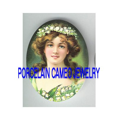 VICTORIAN LILY OF THE VALLEY LADY * UNSET CAMEO PORCELAIN CABOCHON