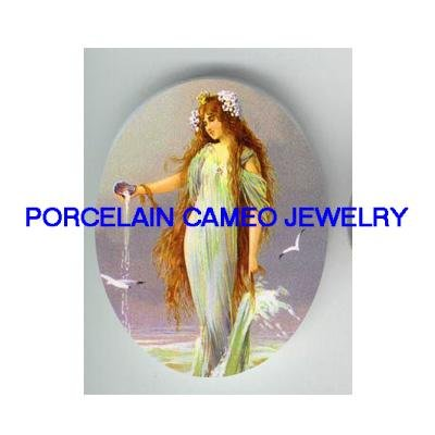 VICTORIAN MERMAID SEA GODDESS * UNSET CAMEO PORCELAIN CABOCHON 18x25MM