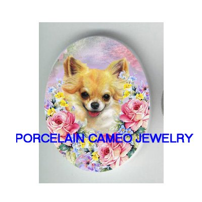 LONG HAIR CHIHUAHUA DOG WITH ROSE  FORGET ME NOT  * UNSET CAMEO PORCELAIN CABOCHON