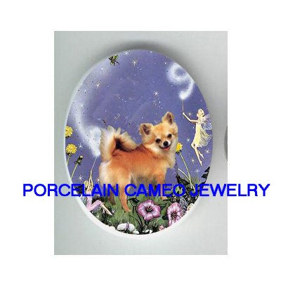 *LONG HAIR CHIHUAHUA DOG BUTTERFLY FAIRY * UNSET CAMEO PORCELAIN CABOCHON