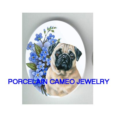 *PUG DOD FORGET ME NOT * UNSET CAMEO PORCELAIN CABOCHON