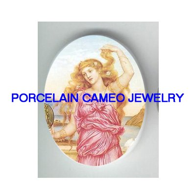 GODDESS HELEN OF TROY * UNSET CAMEO PORCELAIN CABOCHON