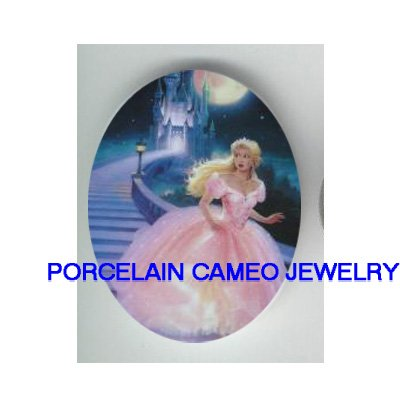 PINK CINDERELLA  WITH CASTLE* UNSET CAMEO PORCELAIN CABOCHON
