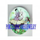 ALICE IN WONDERLAND UNSET PORCELAIN CAMEO CABOCHON