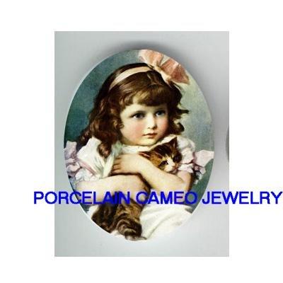 VICTORIAN PINK RIBBON GIRL CUDDLING KITTY CAT PORCELAIN CAMEO