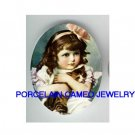 VICTORIAN PINK RIBBON GIRL CUDDLING KITTY CAT PORCELAIN CAMEO