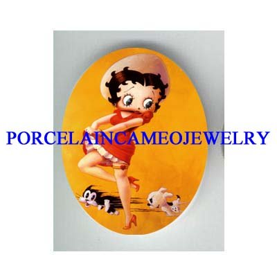 BETTY BOOP CAT CHASE DOG* UNSET CAMEO PORCELAIN CABOCHON