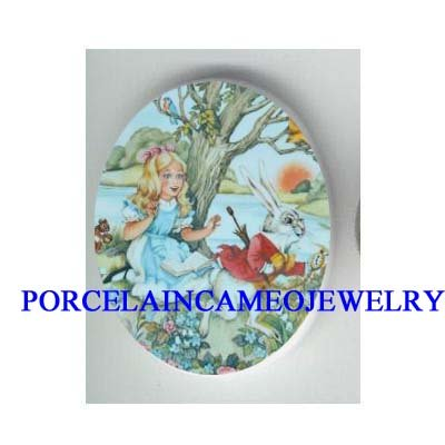 ALICE IN WONDERLAND CHASE RABBIT PORCELAIN CAMEO CABOCHON