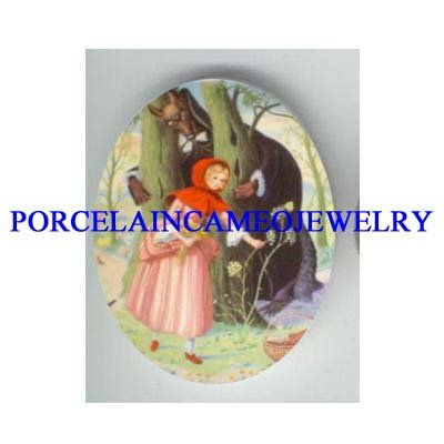 LITTLE RED RIDING HOOD WOLF UNSET PORCELAIN CAMEO CAB