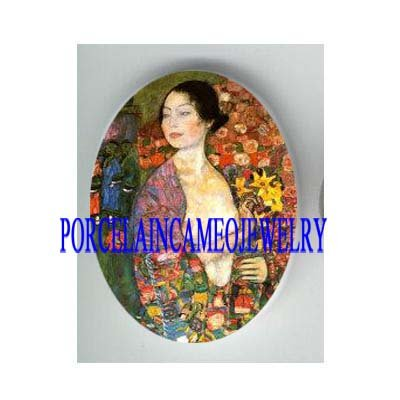 ART NOUVEAU LILY FLOWER LADY UNSET PORCELAIN CAMEO CAB