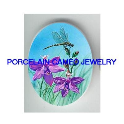 DRAGONFLY WITH PURPLE FLOWER CAMEO PORCELAIN 18X25MM