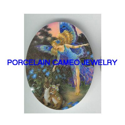 BUTTERFLY FAIRY RABBIT BUNNY UNSET CAMEO PORCELAIN CAB