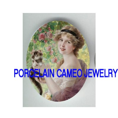 VICTORIAN ROSE LADY HOLDING KITTY CAT PORCELAIN CAMEO