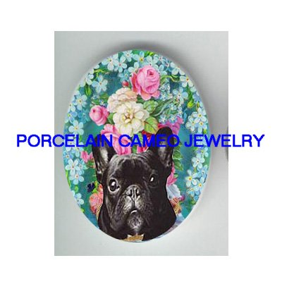 FRENCH BULLDOG WITH ROSE FORGET ME NOT* UNSET CAMEO PORCELAIN CAB