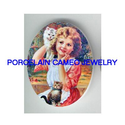 VICTORIAN GIRL WITH 2 KITTY CAT* UNSET CAMEO PORCELAIN CAB
