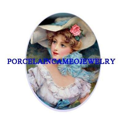 VICTORIAN LADY ROSE HAT UNSET CAMEO PORCELAIN CAB 18X25