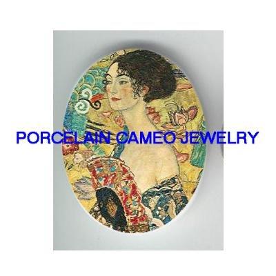 ART NOUVEAU LADY WITH FAN  UNSET CAMEO PORCELAIN CAB 18X25