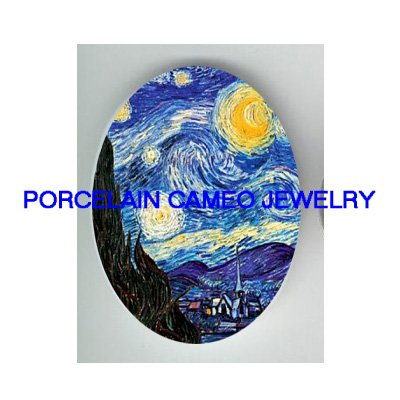 STARRY NIGHT COUNTRY SCENES UNSET PORCELAIN CAMEO CAB